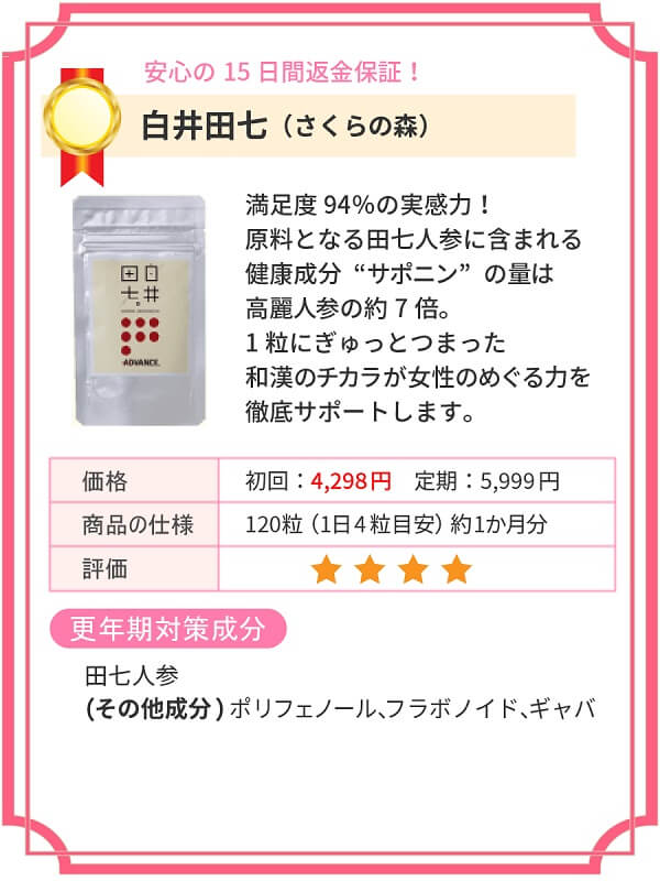 更年期サプリ(白井田七)